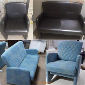 Перетяжка гарнитура: диван и кресло
